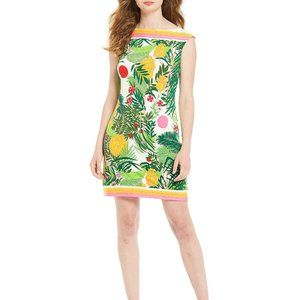 Trina Turk Boat Neck Hibiscus Tropical Palm Dress.